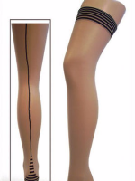 Womens hold up seamed stockings with piano back seams.